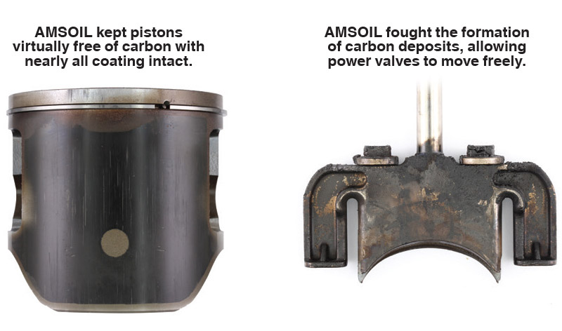AMSOIL INTERCEPTOR Synthetic 2-Stroke Oil delivered outstanding wear protection and cleanliness in a rental sled.