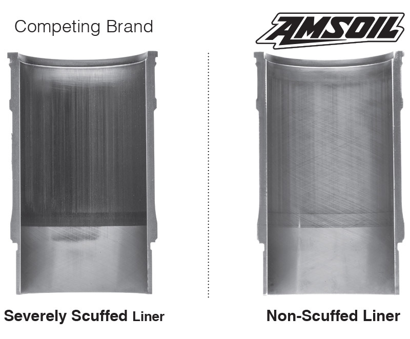 AMSOIL Fights Wear – AMSOIL delivers powerful engine protection. How good is it? In third-party testing compared to a leading brand, AMSOIL provided long-lasting wear protection, keeping cylinder liners looking like new.