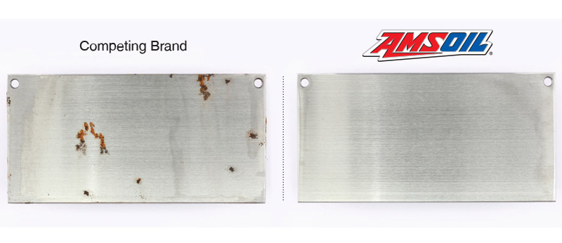AMSOIL Z-ROD completely prevented rust formation while a leading competitor did not.